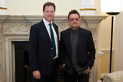 © Licensed to London News Pictures. 11/10/2012. LONDON, UK. U2 singer Bono (R) is seen with the British Deputy Prime Minister Nick Clegg  as the pair meet to discuss international development issues in Whitehall, London, today (11/10/12). Photo credit: Matt Cetti-Roberts/LNP