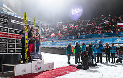 06.01.2018, Paul Außerleitner Schanze, Bischofshofen, AUT, FIS Weltcup Ski Sprung, Vierschanzentournee, Bischofshofen, Finale, im Bild v. l.: 2. Platz Andreas Wellinger (GER), 1. Platz Kamil Stoch (POL), 3. Platz Anders Fannemel (NOR) // 2nd placed Andreas Wellinger of Germany Winner Kamil Stoch of Poland 3nd placed Anders Fannemel of Norway during the Winner Award Ceremony of the Four Hills Tournament of FIS Ski Jumping World Cup at the Paul Außerleitner Schanze in Bischofshofen, Austria on 2018/01/06. EXPA Pictures © 2018, PhotoCredit: EXPA/ JFK
