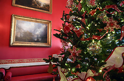 Christmas trees and holiday decorations are seen in the Green Room of the White House in Washington, DC, November 27, 2017. . Photo by Olivier Douliery/Abaca Press