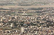 Iran , Tehran. elevated view of Tehran in the distance Azadi tower / Teheran vue aerienne