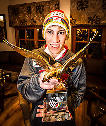 06.01.2014, Berghof, St. Johann Alpendorf, AUT, FIS Ski Sprung Weltcup, 62. Vierschanzentournee, Siegesfeier, im Bild Thomas Diethart (AUT) mit dem Pokal des Gesamtsiegers // Thomas Diethart (AUT) with the Trophy after Winning the 62nd Four Hills Tournament of FIS Ski Jumping World Cup at the Hotel Berghof, St. Johann Alpendorf, Austria on 2014/01/06. EXPA Pictures © 2014, PhotoCredit: EXPA/ JFK