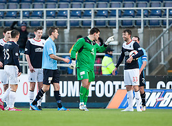 Dundee's keeper Kyle Letheren at Falkirk's Rory Loy after being sent off after bringing down Loy.<br /> Half time : Falkirk 1 v 0 Dundee, Scottish Championship game at The Falkirk Stadium.<br /> © Michael Schofield.