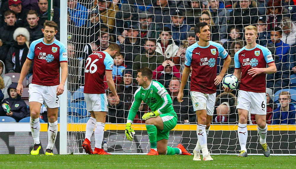 Burnley players react to conceding the first goal<br /> <br /> Photographer Alex Dodd/CameraSport<br /> <br /> The Premier League - Burnley v Crystal Palace - Saturday 2nd March 2019 - Turf Moor - Burnley<br /> <br /> World Copyright © 2019 CameraSport. All rights reserved. 43 Linden Ave. Countesthorpe. Leicester. England. LE8 5PG - Tel: +44 (0) 116 277 4147 - admin@camerasport.com - www.camerasport.com