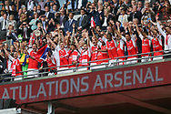 Arsenal's Per Mertesacker(4) lifts the FA Cup for Arsenal during the The FA Cup final match between Arsenal and Chelsea at Wembley Stadium, London, England on 27 May 2017. Photo by Shane Healey.