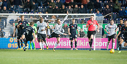 Falkirk's Aaron Muirhead taclkles Dunfermline's Dean Shiels, before Dunfermline's Declan McManus gets involved as gets a red card. Falkirk 1 v 1 Dunfermline, Scottish Championship game played 4/5/2017 at The Falkirk Stadium.