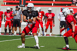 NORMAL, IL - August 14: Jackson Waring during a college football pre-season scrimmage of the  ISU (Illinois State University) Redbirds August 14 2021 at Hancock Stadium in Normal, IL. (Photo by Alan Look)