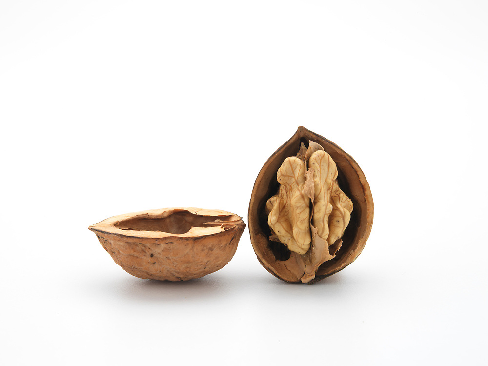 half walnuts showing nut and empty walnut shell on a white background