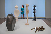 Works in room 4 incl Cube, Spoon Woman, Walking Woman, Woman with her throat cut  and Invisible object Hands holding the void - the UK's first major retrospective of Alberto Giacometti (1901-1966) for 20 years.<br /> Celebrated as a sculptor, painter and draughtsman, he is famous for his distinctive elongated figures. With the help of Fondation Alberto et Annette Giacometti, Paris, Tate Modern's exhibition brings together over 250 works. Alberto Giacometti is at Tate Modern from 10 May to 10 September 2017