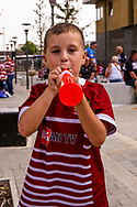 Wigan fan blowing his trumpet during the Ladbrokes Challenge Cup Final 2017 match between Hull RFC and Wigan Warriors at Wembley Stadium, London, England on 26 August 2017. Photo by Simon Davies.