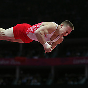 Denis Ablyazin, Russia, in action winning the Silver Medal in the Gymnastics Artistic, Men's Apparatus, Vault Final at the London 2012 Olympic games. London, UK. 6th August 2012. Photo Tim Clayton