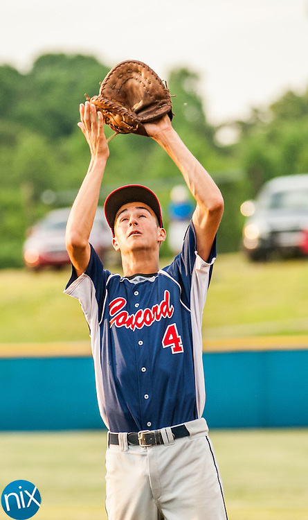 Concord Post 51's Kaleb Kluttz catches a shallow fly ball against Mooresville Post 66 Monday night at Lake Norman High School. Concord won the game 6-5.