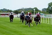 Greeley ridden by David Egan and trained by Rod Millman in the Weatherbys Racing Bank Foreign Exchange Handicap (Class 4) race. Champs De Reves ridden by Megan Nicholls and trained by Michael Blake in the Weatherbys Racing Bank Foreign Exchange Handicap (Class 4) race. Carp Kid ridden by Finley Marsh and trained by John Flint in the Weatherbys Racing Bank Foreign Exchange Handicap (Class 4) race. - Ryan Hiscott/JMP - 21/08/2019 - PR - Bath Racecourse - Bath, England - Race Meeting at Bath Racecourse