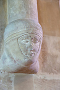 Medieval carved corbel, possibly the head of Richard, Earl of Cornwall, church of the Holy Cross, Sherston, Wiltshire, England, UK