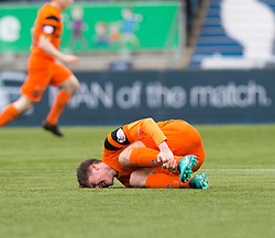 Dundee United's Blair Spittal injured. Falkirk 3 v 0 Dundee United, Scottish Championship game played 11/2/2017 at The Falkirk Stadium.