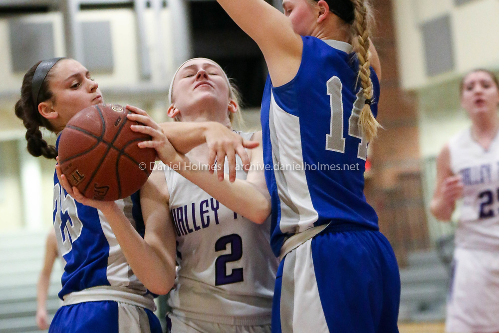 (2/1/18, UPTON, MA) Blackstone Valley Tech's Kourtnie Page is fouled during the girls basketball game against Auburn  at Blackstone Valley Tech in Upton on Thursday. [Daily News and Wicked Local Photo/Dan Holmes]
