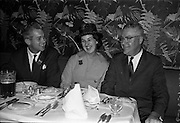 03/07/1963<br /> 07/03/1963<br /> 03 July 1963<br /> American executives of N.C.R. visit Dublin. Two top executives of the Dayton, Ohio, headquarters of the National Cash Register Company, one of the world's foremost manufacturers of cash registers, accounting machines and electronic computers, visiting Dublin. Picture shows  the lunch at the Gresham Hotel, Dublin, on right is Mr D.K. Hughes (2nd left) Manager Overseas Factories, N.C.R. with Mr P. McDermott, (AAMD) and U. Delany (AAMD).