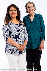 Guillermina Perez (L) with Bette Frick at the Intercambio portrait Shoot. Longmont, CO, USA. June 5, 2021. Photography ©2021 Michael Lichter. Usage rights granted to Intercambio Uniting Communities and its assigns.