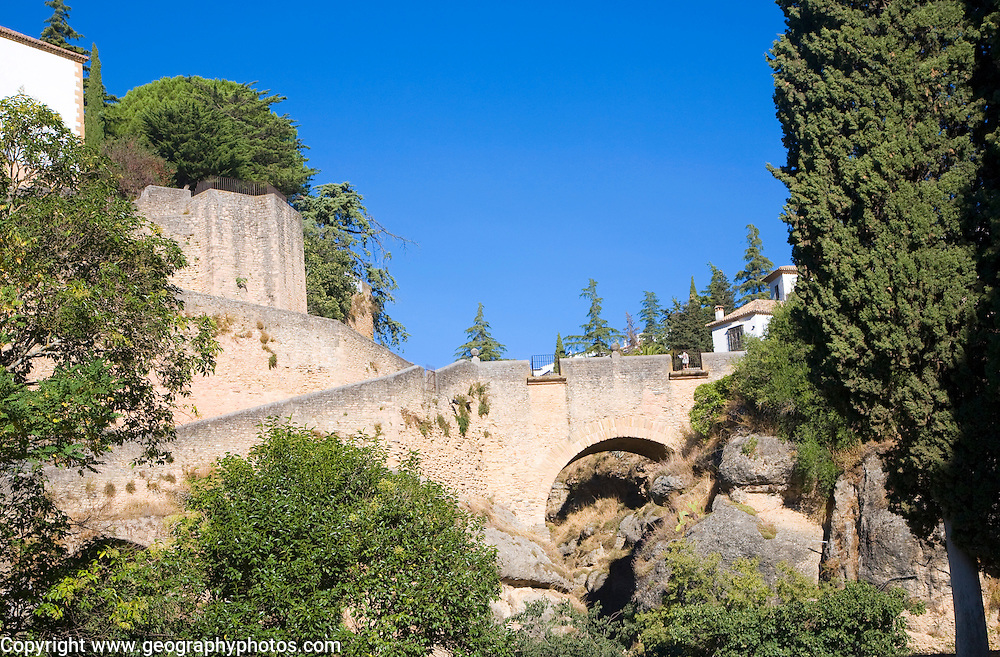 Puente Viejo pedestrian bridge built 1616, Ronda, Spain