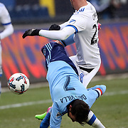 NEW YORK, NEW YORK - March 18: David Villa #7 of New York City FC is fouled by Laurent Ciman #23 of Montreal Impact during the New York City FC Vs Montreal Impact regular season MLS game at Yankee Stadium on March 18, 2017 in New York City. (Photo by Tim Clayton/Corbis via Getty Images)