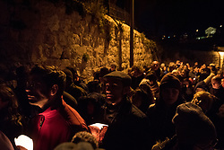 18 April 2019, Jerusalem: On Maundy Thursday (Western tradition), the Church of Gethsemane filled to the brim with Christians from Jerusalem and all over the world participating in the Easter celebrations, who then lit candles, marching through the valley below, and up the hillside to share a moment of prayer.