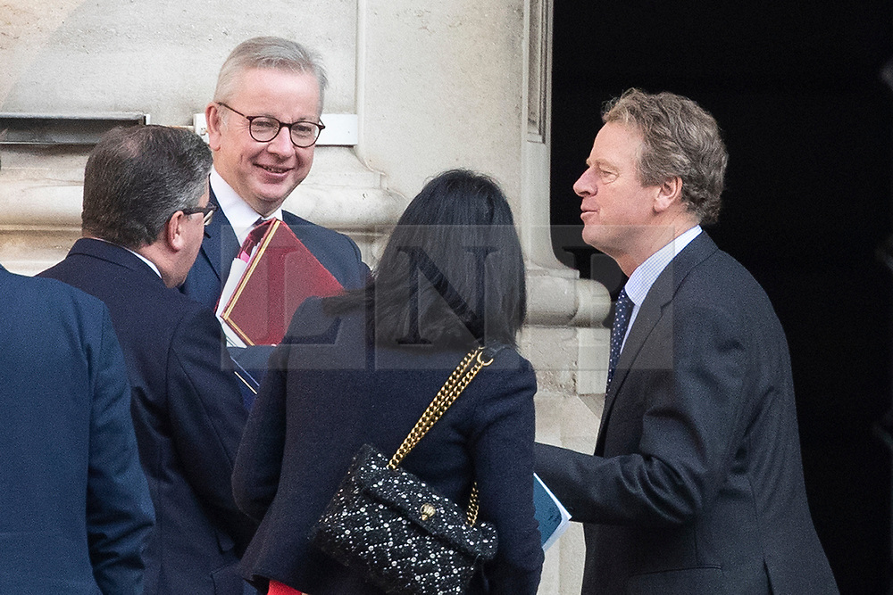 © Licensed to London News Pictures. 22/09/2020. London, UK. Justice secretary Robert Buckalnd (left) ,Chancellor of the Duchy of Lancaster Michael Gove(second left)   and Scottish Secretary Alister Jack (right) speak to colleagues at the Foreign Office following a Cabinet Meeting. Later today the Prime Minister will address the nation . Photo credit: George Cracknell Wright/LNP