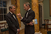 NEIL MACGREGOR; SIR NICHOLAS SEROTA, Professor Mikhail Piotrovsky Director of the State Hermitage Museum, St. Petersburg and <br /> Inna Bazhenova Founder of In Artibus and the new owner of the Art Newspaper worldwide<br /> host THE HERMITAGE FOUNDATION GALA BANQUET<br /> GALA DINNER <br /> Spencer House, St. James's Place, London<br /> 15 April 2015
