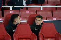 Lucas Torreira and Gabriel Martinelli of Arsenal seen before kick off - Mandatory by-line: Arron Gent/JMP - 27/02/2020 - FOOTBALL - Emirates Stadium - London, England - Arsenal v Olympiacos - UEFA Europa League Round of 32 second leg