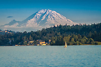 Late summer afternoon on Lake Washington in Medina, WA as snowy Mount Rainier rises above the landscape.