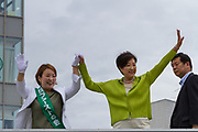 Tokyo Governor, Yuriko Koike campaigns in support of candidates from her newly established Tomin First no Kai (Tokyoites First) party, in Nakano,Tokyo, Japan. Friday June 30th 2017.  The popular female Governor's party is fielding around 40, mostly young candidates hoping to lessen the power of the ruling Liberal Democratic Party (LDP) in the capital.