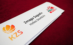 Badge of Zmago Sagadin of Helios Domzale during press conference of KZS before final basketball tournament of Spar Cup 2012, on February 14, 2012, in Austria Trend Hotel, Ljubljana, Slovenia. (Photo by Grega Valancic / Sportida.com)