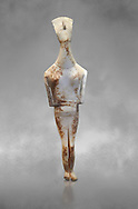 Female Cycladic statue figurine with folded arms of the Spedos and Dokathismata type. Early Cycladic Period II (2800-3200) from Amorgos. National Archaeological Museum, Athens.   Grey background.<br /> <br /> <br /> This Cycladic statue figurine is of the Spedos type standing on tip tie with bended knees and arms folded under the breasts with head raiised. This staue belongs to the Dokathismata type of Amorgos with an angular face, wide chest and slender outline. .<br /> <br /> If you prefer to buy from our ALAMY PHOTO LIBRARY  Collection visit : https://www.alamy.com/portfolio/paul-williams-funkystock/cycladic-art-artefacts.html Type into the LOWER SEARCH WITHIN GALLERY box to refine search by adding background colour, place, museum etc<br /> <br /> Visit our CYCLADIC CIVILISATIONS PHOTO COLLECTIONS for more photos to download or buy as wall art prints https://funkystock.photoshelter.com/gallery-collection/Cycladic-civilisation-Ancient-Greek-Artefacts-art-Photos-Pictures-Images/C0000CmevVvnC.XU