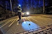 Nederland, Ubbergen, 3-4-2018Vrijwilligers helpen de padden en wild-water-salamanders met het oversteken van de Rijsstraatweg. Ze trekken naar het water en de poelen aan de voet van de stuwwal.Foto: Flip Franssen
