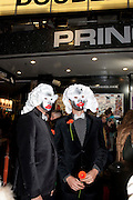 DAN; ANDREW, Premiere of 'The British Guide to Showing Off' Jes Benstock's documantary on Andrew Logan's life and 12 Alternative Miss World's. Prince Charles cinema, Leicester Place. London and afterward's at Moonlighting, Greek St. London. 6 November 2011. <br /> <br />  , -DO NOT ARCHIVE-© Copyright Photograph by Dafydd Jones. 248 Clapham Rd. London SW9 0PZ. Tel 0207 820 0771. www.dafjones.com.