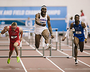 COLLEGE STATION, TX - MARCH 11: Chad Zallow of Youngstown State, Grant Holloway of Florida and Nick Anderson of Kentucky compete in the 60 meter hurdles during the Division I Men's and Women's Indoor Track & Field Championship held at the Gilliam Indoor Track Stadium on the Texas A&M University campus on March 11, 2017 in College Station, Texas. (Photo by Michael Starghill/NCAA Photos/NCAA Photos via Getty Images)