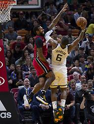 January 7, 2018 - Miami, FL, USA - Miami Heat forward James Johnson (16) guards against Utah Jazz's Joe Johnson (6) in the fourth quarter on Sunday, Jan. 7, 2018 at the AmericanAirlines Arena in Miami, Fla. The Miami Heat defeated the Utah Jazz, 103-102. (Credit Image: © Matias J. Ocner/TNS via ZUMA Wire)