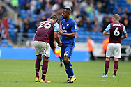 John Terry, the Aston Villa captain (l) is consoled by Cardiff city player Loic Damour © at the end of the match after his team lose the match by three goals to nil. EFL Skybet championship match, Cardiff city v Aston Villa at the Cardiff City Stadium in Cardiff, South Wales on Saturday 12th August 2017.<br /> pic by Andrew Orchard, Andrew Orchard sports photography.