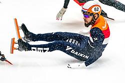 Sjinkie Knegt in action on the semi finale 1500 meter during ISU World Cup Finals Shorttrack 2020 on February 15, 2020 in Optisport Sportboulevard Dordrecht.