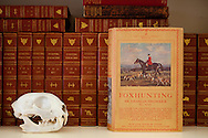 The Portland, Oregon home of Wendy Burden, author of  the memoir, Dead End Gene Pool. Fox Hunting by Sir Charles Frederick sits next to an animal skull in the dining room library.