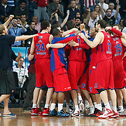 CSKA Moscow's players celebrate victory during their Euroleague Final Four semi final Game 1 basketball match CSKA Moscow's between Panathinaikos at the Sinan Erdem Arena in Istanbul at Turkey on Friday, May, 11, 2012. Photo by TURKPIX