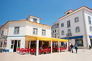 A cafe in the centre of Ericeira on 27th May 2018 in Ericeira in Portugal. Ericeira is a civil parish and seaside resort/fishing community on the western coast of Portugal.