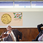 DENMARK, SOUTH CAROLINA - JANUARY 22: United States Congressman, James Clyburn (right), discusses local issues with Denmark Mayor, Gerald Wright, (left) inside the Walter E. Brooker Center in Denmark, SC on January 22, 2020.  The town has previously been a beneficiary of Clyburn's 10-20-30 anti- poverty bill and is attempting to take advantage of it again for necessary upgrades to the town's water system. (Photo by Logan CyrusforThe Washington Post).               on Post)