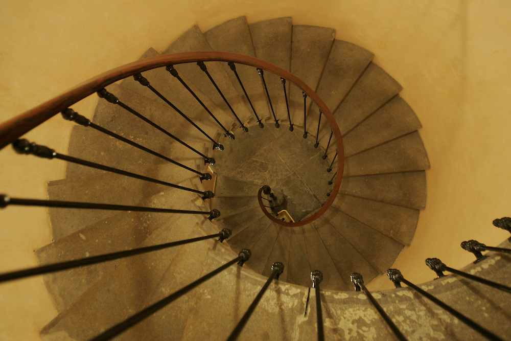 Stairs of a renovated old house, Limoux, France