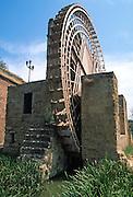 SPAIN, ANDALUSIA, CORDOBA Molino de la Albolafia with ancient Moorish waterwheel brings water from Guadalquivir River to Alcazar Palace