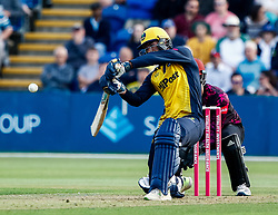 Jeremy Lawlor of Glamorgan hits to Max Waller of Somerset<br /> <br /> Photographer Simon King/Replay Images<br /> <br /> Vitality Blast T20 - Round 1 - Glamorgan v Somerset - Thursday 18th July 2019 - Sophia Gardens - Cardiff<br /> <br /> World Copyright © Replay Images . All rights reserved. info@replayimages.co.uk - http://replayimages.co.uk