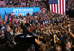 November 8, 2016 - Pennsylvania, United States - Lady Gaga and Jon Bon Jovi Perform in Raleigh in Support of Hillary Clinton at a midnight rally the night before the election at North Carolina State University on November 8, 2016 in Raleigh, North Carolina. The midnight rally followed Clinton campaigning in Pennsylvania, Michigan and North Carolina in the lead up to today's general election. (Credit Image: © Zach D Roberts/NurPhoto via ZUMA Press)