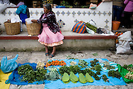 """View of a mexican public market called """"Tianguis"""". This is a Mexican word derived from the Nahualt or Aztec language. Cuetzalan is a small town set high in the hills in the north of the Mexican state of Puebla. It is located in the Sierra Norte region. The town itself is characterized by sloping cobbled streets and numerous rustic buildings. Feb 17 2008. (ivan gonzalez)."""