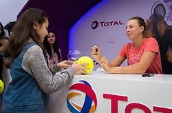 February 11, 2019 - Doha, Spain - Anett Kontaveit of Estonia signs autographs in the Total booth at the 2019 Qatar Total Open WTA Premier tennis tournament (Credit Image: © AFP7 via ZUMA Wire)