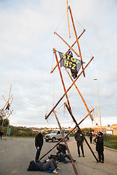 West Hyde, UK. 9th September, 2020. Anti-HS2 activists use tripods to block one of several entrances blocked to the Chiltern Tunnel South Portal site for the HS2 high-speed rail link. The protest action, at the site from which HS2 Ltd intends to drill a 10-mile tunnel through the Chilterns, was intended to remind Prime Minister Boris Johnson that he committed to remove deforestation from supply chains and to provide legal protection for 30% of UK land for biodiversity by 2030 at the first UN Summit on Biodiversity on 30th September.