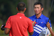 Yung-Hua LIU (TPE) shakes hands following Rd 1 of the Asia-Pacific Amateur Championship, Sentosa Golf Club, Singapore. 10/4/2018.<br /> Picture: Golffile | Ken Murray<br /> <br /> <br /> All photo usage must carry mandatory copyright credit (© Golffile | Ken Murray)