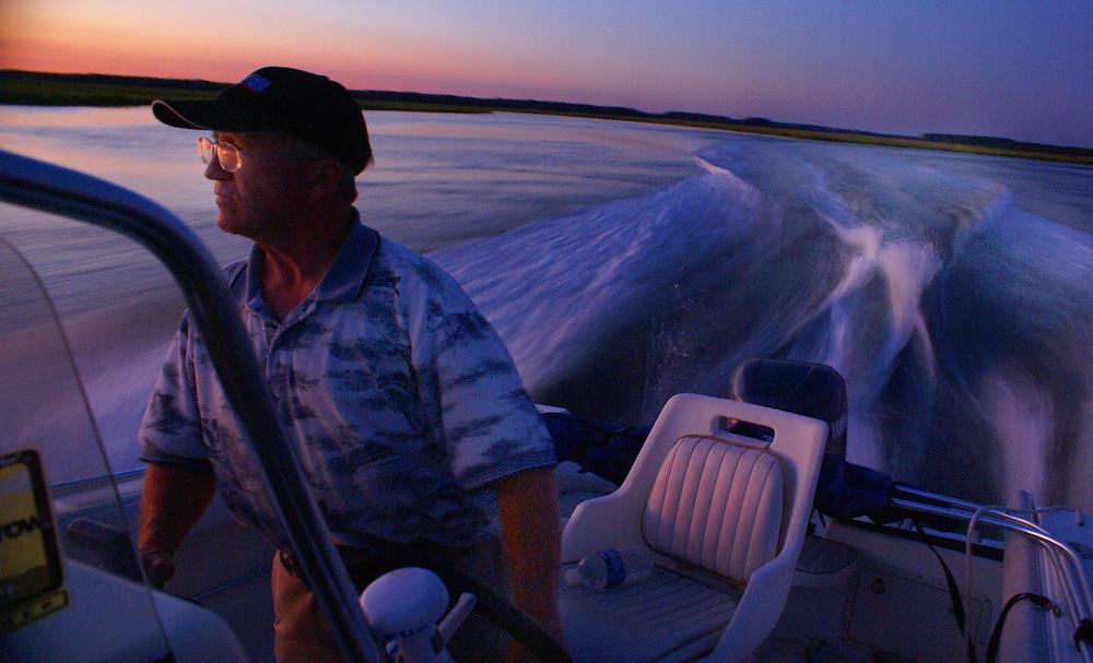 A Motorboat Pilot at Dusk, Delaware Bay, Newport, South Jersey, NJ